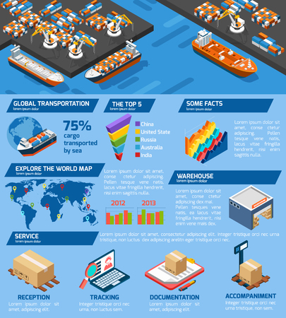 documentation: Seaport cargo transportation and storage infographic isometric poster with world top harbors statistics abstract vector illustration