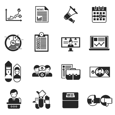 campaigning: Elections black icons set with rating debate megaphone  performances on tv and result of voting isolated vector illustration Illustration