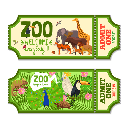 Colorful zoo tickets with tropical plants exotic birds and african animals flat vector illustration