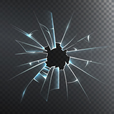 Accidentally broken frosted window pane or front door glass realistic decorative dark background icon vector illustration Vectores