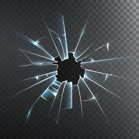cristal roto: panel de vidrio esmerilado accidentalmente roto o vidrio de la puerta delantera ilustración decorativa realista icono de vector fondo oscuro