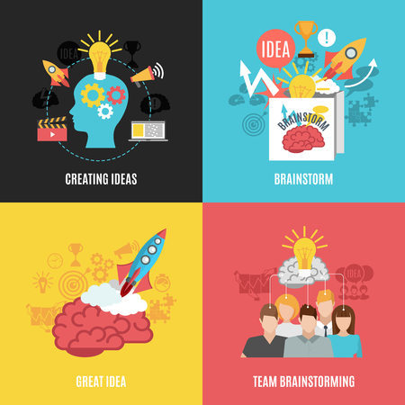 Flache 2x2 abstrakte Kompositionen präsentieren zu schaffen Ideen großartige Idee Brainstorming und Team Brainstorming Vektor-Illustration