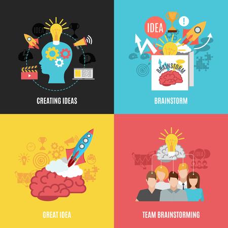 Płaskie 2x2 abstrakcyjne kompozycje prezentujące tworzenie pomysłów wielka burza mózgów pomysł i zespół burzy mózgów ilustracji wektorowych