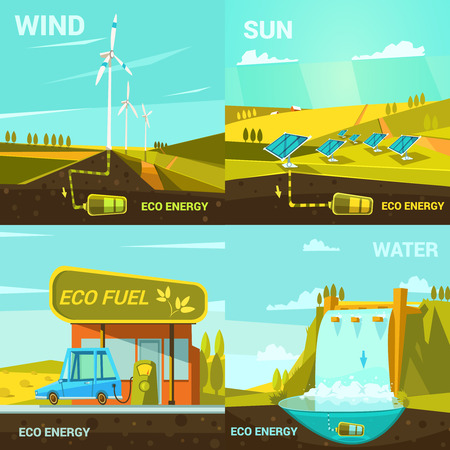 sun light: Ecological energy design concept set with retro cartoon wind sun and water power elements isolated vector illustration