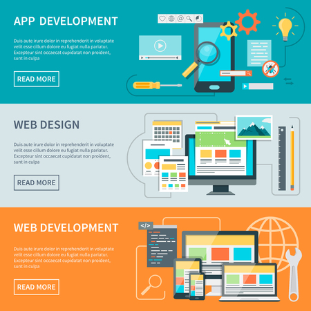 aspects: Set of three horizontal concept banners illustrated aspects of website development process vector illustration Illustration