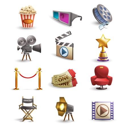 film: Cinema icons set with popcorn 3d glasses and film reel isolated vector illustration