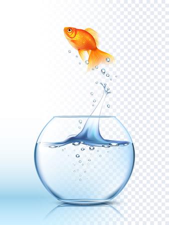 Goldene Fische hoch aus dem runden Aquarium mit klarem Wasser Licht karierten Hintergrund Plakat Vektor-Illustration Springen Standard-Bild - 52698110