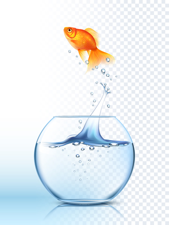 Golden fish jumping high out the round fishbowl with clear water light checkered background poster vector illustration