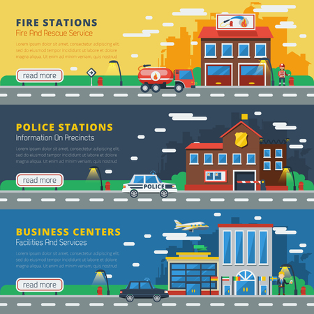 administrative buildings: Government buildings horizontal banners with fire stations police stations business centers design compositions on town silhouettes background flat vector illustration