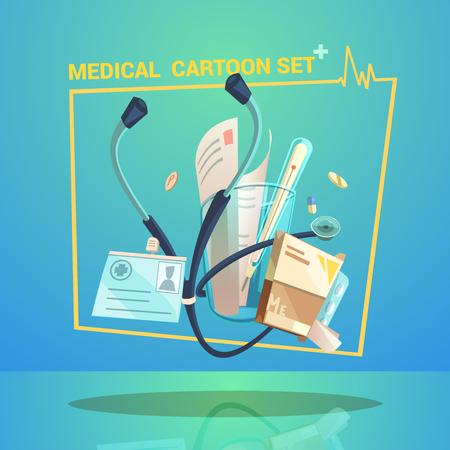 personas enfermas: Objetos m�dicos establecidos con las p�ldoras term�metro y dibujos animados ilustraci�n vectorial estetoscopio Vectores