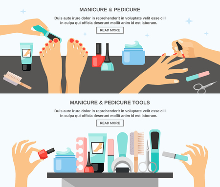 Manicure and pedicure tips tools accessories information 2 flat banners composition webpage design abstract isolated vector illustration
