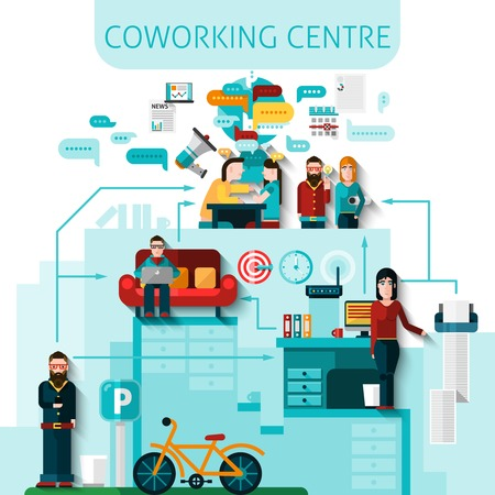 Coworking centre composition with communication and transport symbols flat vector illustration