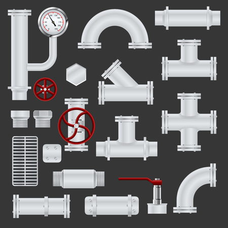 conduit: Realistic pipeline realistic icons set with metal steel tubes and pipe elements isolated vector illustration Illustration