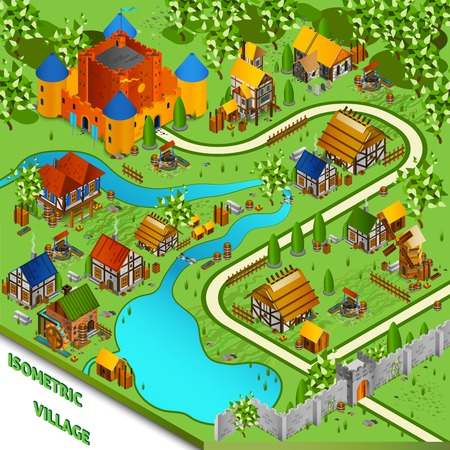 kingdom: Medieval isometric landscape with river village and castle in cartoon style vector illustration