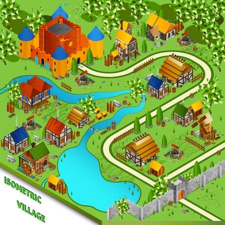 castello medievale: Medievale paesaggio isometrica con il villaggio fiume e sul castello in illustrazione vettoriale stile cartoon Vettoriali