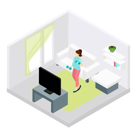 pregnancy woman: Pregnancy fitness with woman doing exercises at home isometric vector illustration