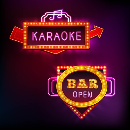 Retro vue de la lumière réglée avec karaoké bar isolé sur fond sombre illustration vectorielle