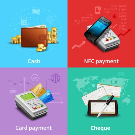 Conjunto de pago con dinero en efectivo y tarjetas de iconos realistas aislado ilustración del vector