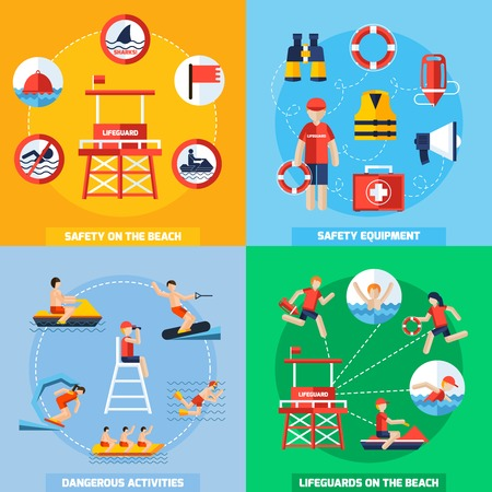 life jackets: Lifeguards on the beach 4 flat icons square composition poster with safety equipment abstract isolated vector illustration