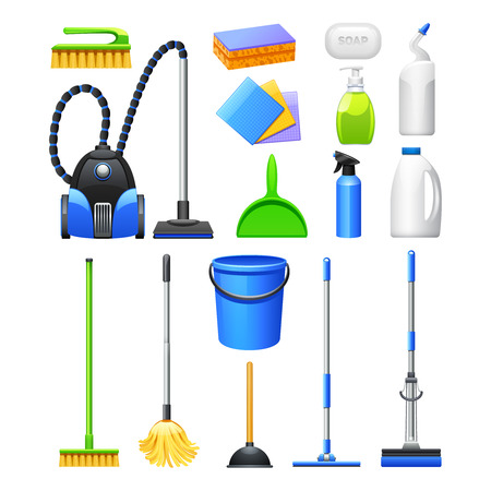 household equipment: Cleaning equipment and accessories realistic icons collection with vacuum cleaner brushes and mops abstract isolated vector illustration Illustration