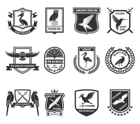 escudo: Las aves negro colecci�n de emblemas con el blindaje sistema de seguridad colibri colibr� y la etiqueta de halc�n de oro resumen ilustraci�n vectorial aislado Vectores