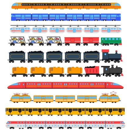 ferrocarril: iconos Tren de juguete con la ilustración vectorial aislado transporte de pasajeros y de carga