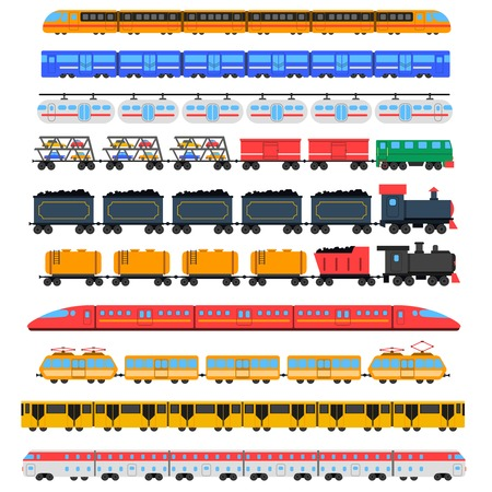 railroads: Train icons set with passenger and cargo transport isolated vector illustration