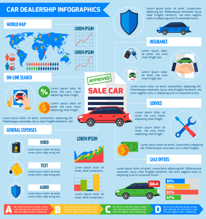 dealership: International car dealership infographic poster with  diagrams statistics of choosing buying and payment online options vector illustration
