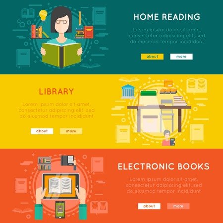 books library: Library horizontal banner set with electronic books flat isolated vector illustration