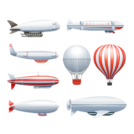 dirigible: Dirigible and hot air balloons airships in flight icons collection  white red abstract isolated vector illustration