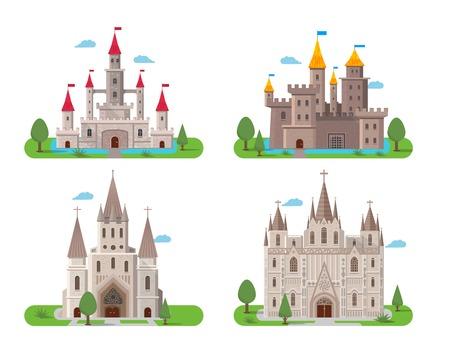 castello medievale: Medievale antichi edifici del castello icone piane impostare illustrazione vettoriale isolato