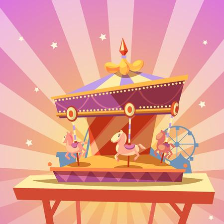 de dibujos animados retro parque de diversiones con Merry-go-round ilustración vectorial carrusel