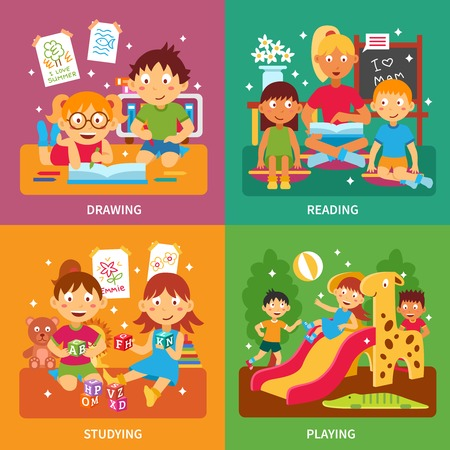 drawing table: Kindergarten design concept set with children drawing readign studying and playing isolated vector illustration Illustration
