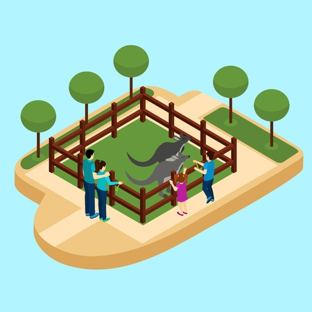 entrance: Zoo with family watching kangaroos on blue background isometric vector illustration