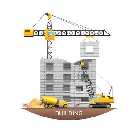 house building: Urban building under construction with concrete wall panel hanging from tower crane flat poster abstract vector illustration