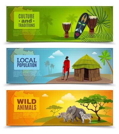 África banderas de dibujos animados horizontal fijado con la ilustración vectorial cultura y las tradiciones símbolos aislados