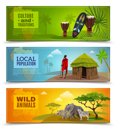 africa continent: Africa horizontal cartoon banners set with culture and traditions symbols isolated vector illustration