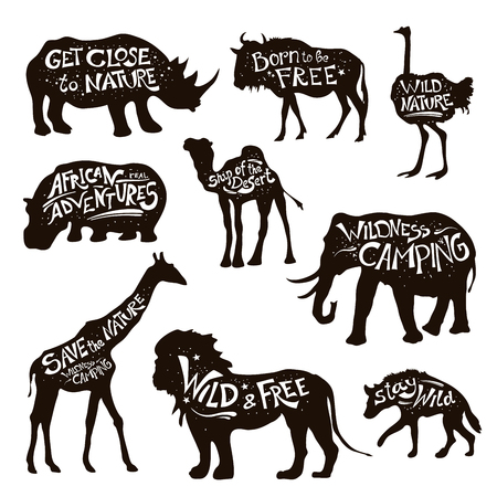 wild web: Wild african animals icons set with save nature message white on black lettering abstract isolated vector illustration