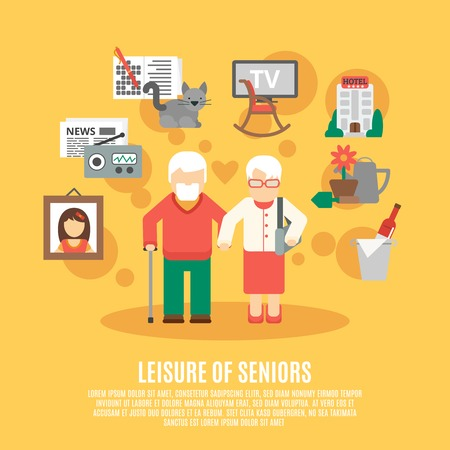 age old: Leisure of seniors poster with elder couple and icons of time spent options around flat vector illustration Illustration