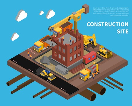 Construction site with building block of flats symbols on blue background isometric vector illustration Çizim