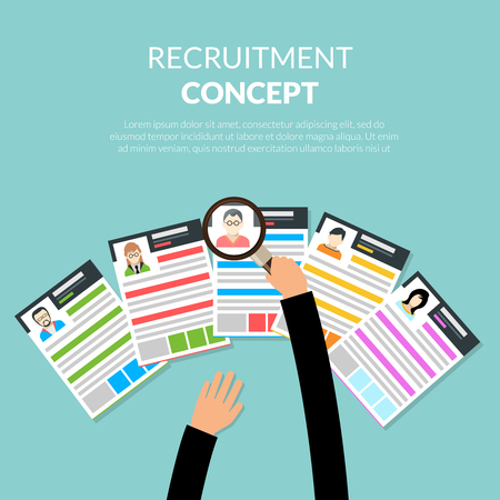 candidates: Recruiment flat concept with recruiter choosing candidates cv vector illustration
