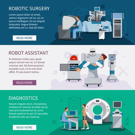 로봇 수술 도구 및 innovational 의료 진단 장비 평면 벡터 일러스트 레이 션의 집합 슈퍼맨 배너 일러스트