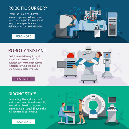 colonoscopy: Bionic banners  set of robotic surgery tools and  innovational medical diagnostic equipment flat vector illustration