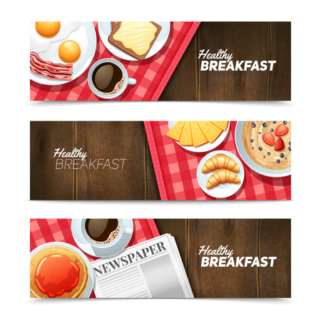 ham sandwich: Healthy breakfast 3 horizontal banners set with black coffee and fried eggs on dark wooden table vector illustration