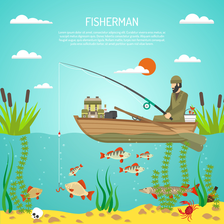 perch: Flat color design concept with fisherman with spinning in boat reeds and fishes in lake flat vector illustration