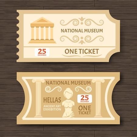 biglietto: Due biglietti per i musei d'epoca per antica mostra d'arte con la data e l'immagine di illustrazione piatta vettore aphrodite statua