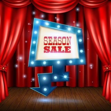Season sale light banner on stage background with red curtain realistic vector illustration Illustration