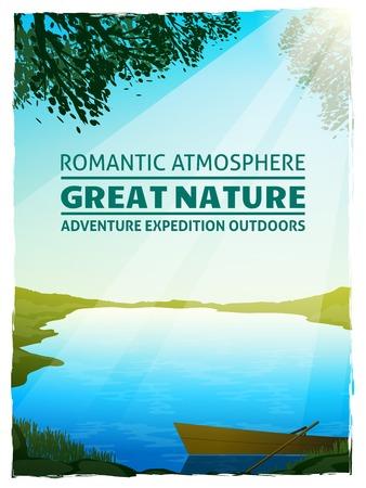 Bellissimo lago al sole del mattino tra i prati verdi grande natura paesaggio di sfondo del manifesto di stampa illustrazione vettoriale Vettoriali