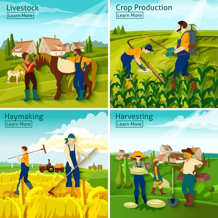 harvesting: Farming 2x2 design concept with farmers busy in livestock crop haymaking harvesting flat vector illustration Illustration