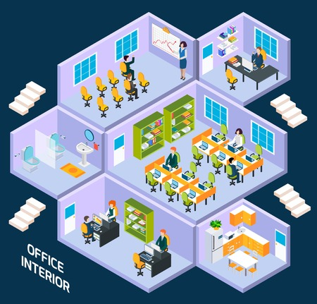 office space: Office isometric interior with conference room, reception working space vector illustration